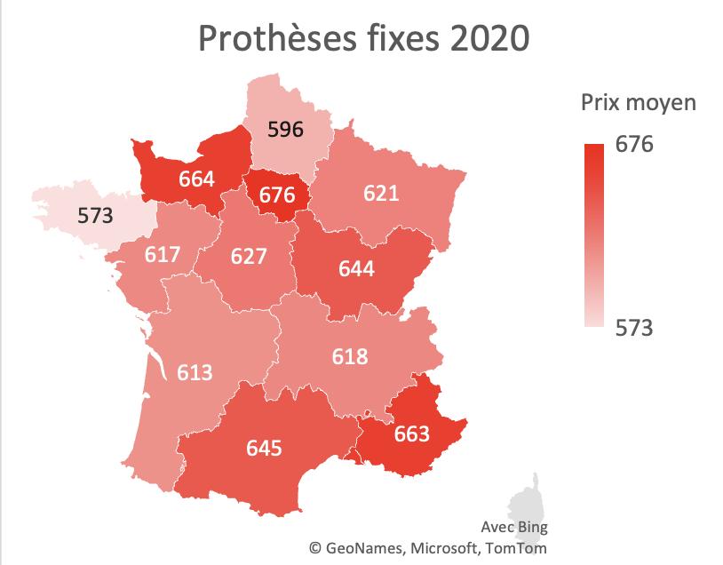 Impact du dispositif 100% santé sur les inégalités territoriales de tarifs - prothèses fixes 2020