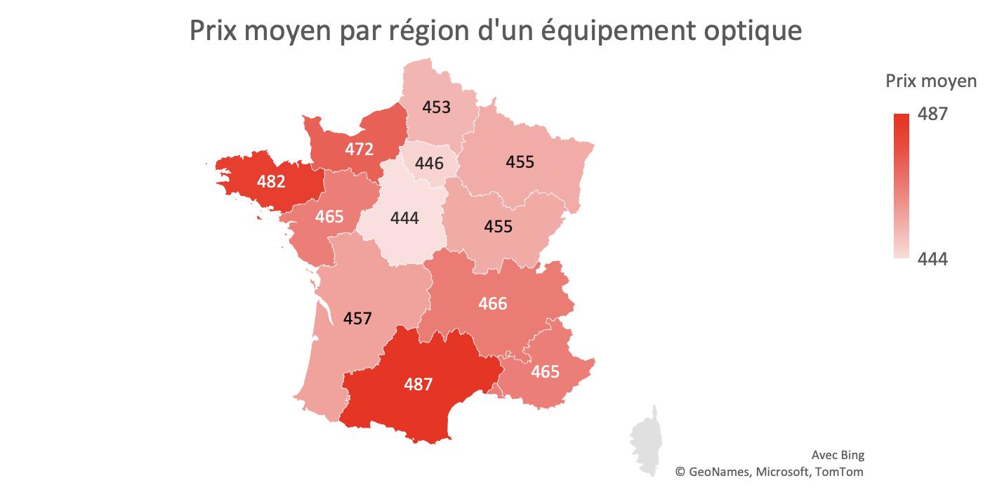 L'offre 100% santé optique - prix moyen par région d'un équipement optique
